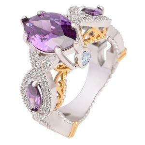 Periwinkle CZ vintage engagement, wedding ring.